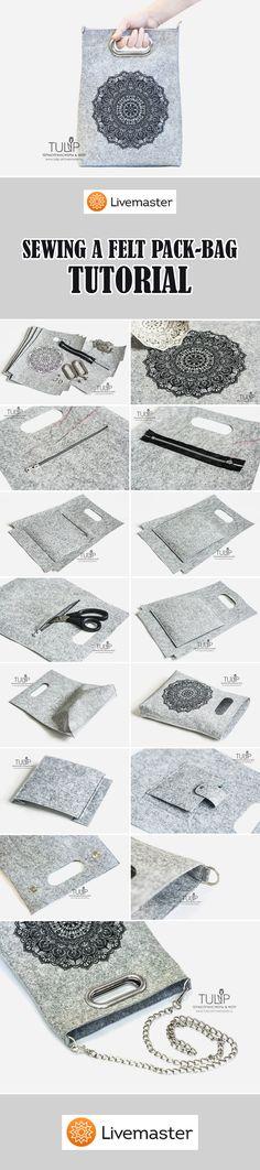 Sewing a Felt Pack-Bag TUTORIAL | Шьем стильную фетровую сумку-пакет своими руками