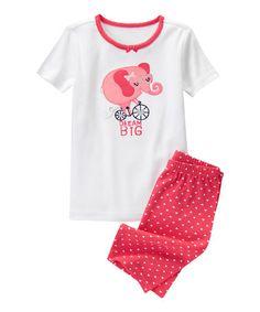 Look at this #zulilyfind! White & Pink Elephant Bike Pajama Set - Infant, Toddler & Girls #zulilyfinds