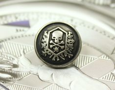 Metal Buttons  Skull Emblem Metal Buttons  Retro by Lyanwood