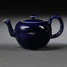 Staffordshire Littler's Blue Decorated Salt-glazed Stoneware Teapot and Cover, England, c. 1750, globular with molded crabstock handle and spout, lg. 5 3/4, ht. 3 1/4 in.