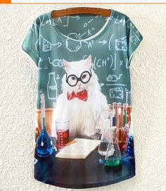 Wholesale cheap T shirt online, Print   - Find best  new Summer European and American Professor cat print small bat sleeve women loose printing T-shirt free shippment at discount prices from Chinese T-Shirt supplier - judybaobei on DHgate.com.