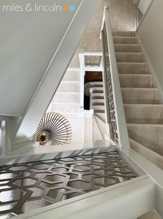 Laser cut balustrade - London - Agra design by Miles and Lincoln. www.milesandlincoln.com Laser Cut Screens, Juliet Balcony, Agra, Stairways, Laser Cutting, Luxury, Lincoln, Design, Home Decor