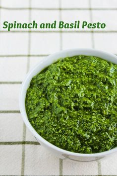 Spinach and Basil Pesto (all more or less to taste: 2 c (packed) fresh spinach leaves, 2 c (packed) fresh basil leaves (washed and spun dry or dried with paper towels), 2 T garlic puree or finely minced fresh garlic, 2/3 c pine nuts, 1 1/3 c good quality grated Parmesan cheese, and 2/3 c evoo)