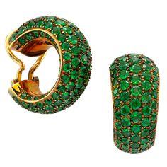 Hemmerle Tsavorite Copper Gold Hoop Earrings | From a unique collection of vintage hoop earrings at http://www.1stdibs.com/jewelry/earrings/hoop-earrings/