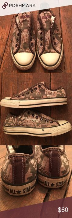 Converse Pinup style Converse!  I've honestly never seen these anywhere before.  My guess is that they were maybe samples that never got released.  They look camo but if you look closely they are pinup girls!  They've always looked dirty and had the ink/paint stain, perfectly imperfect and super unique.  Flexible on price so MAKE OFFERS! Converse Shoes Sneakers