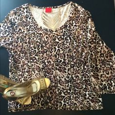 TOP⭐️⭐️HOST PICK Animal print with gold threading to give curvy appeal top stitching 3/4 sleeve round neckline this top just need a loving home maybe worn once perfect for under coats sweaters and under vest cute cute ⭐️⭐️⭐️⭐️⭐️ has stretch also for comfy fit CRISTINA Tops