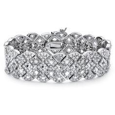 3/8 TCW Diamond Vintage-Inspired Bracelet (440 AED) ❤ liked on Polyvore featuring jewelry, bracelets, accessories, jewels, jewelry & watches, red, diamond jewelry, sparkle jewelry, vintage bangle and vintage tennis bracelet