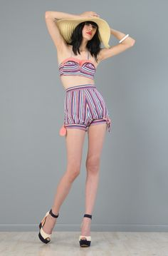 Candy stripe vintage playsuit