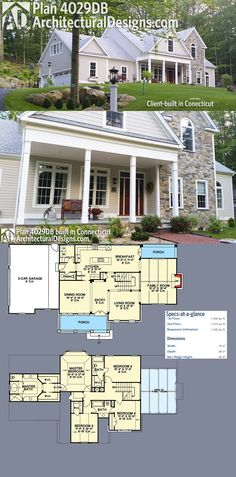 Our client built Architectural Designs House Plan 4029DB with stone accenting the front gable on their wooded lot in Connecticut.Ready when you are. Where do YOU want to build?