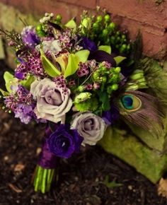 Eggplant Ribbon Hand Tied Bouquet with Peacock Feather
