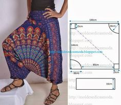 "Ropa facil ""Another harem pants pattern"", ""Hi, my dear readers ♥ Today I want show you two things - first - a pair of DIY harem pants I made from a tie- Diy Clothing, Clothing Patterns, Dress Patterns, Sewing Patterns, Shirt Patterns, Easy Patterns, Sewing Pants, Sewing Clothes, Doll Clothes"