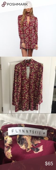 Flynn Skye Leah Dress Red with florals. Excellent condition worn once. Would trade for something similar. Lovely mini dress look great with OTK boots. Flynn Skye Dresses