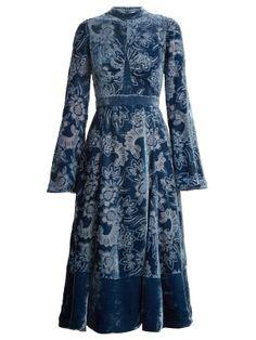 Christina high-neck velvet devoré dress by Erdem