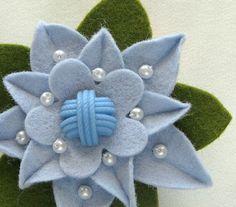 Robin's Egg Blue Felt Flower Pin with Blue ♡ by dorothydesigns, $20.00