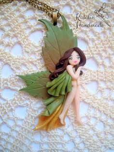 Kawaii chibi ooak doll autumn fairy polymer clay by ...