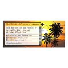 Sunset Wedding Save the Date Cards boarding pass save the date tickets with sunset card