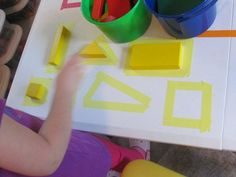 This is one of many open ended ways you can help young children explore their shapes through play and using everyday materials in your classroom environment.