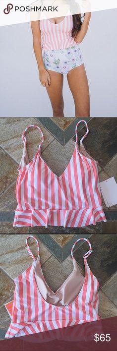 •nwt• Kortni Jeane scoop back top Peach stripe scoop back top with adjustable straps and a cute peplum style. NWT kortni jeane Swim Bikinis