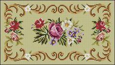 Rug chart (at link) Cross Stitch Rose, Cross Stitch Flowers, Cross Stitch Patterns, Pinterest Cross Stitch, Tapete Floral, Vintage Cross Stitches, Bargello, Vintage Flowers, Needlepoint