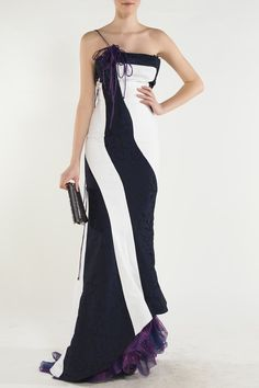 https://www.cityblis.com/6074/item/15050 | style: 121 Peggy dress - $924 by NICO DIDONNA |   The glamorous Navy- Black and white Dress possesses pure flowing lines which flatters and gives a strong illusion of a sleek statuesque figure . contrast fabric with detailing of spaghetti straps with thin draping purple detailing makes this piece one of a kind. Gathered metallic purple silk lined... | #Dresses