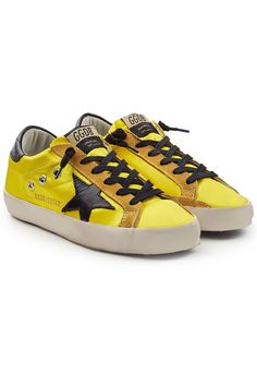 Golden Goose Super Star Satin Sneakers With Leather In Yellow Yellow Fashion, Super Star, Sneaker Brands, Golden Goose, Spring Summer Fashion, Yellow Style, Plush, Black Leather, Satin
