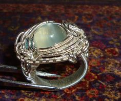 Real Moonstone, Aquamarine, Pure Silver