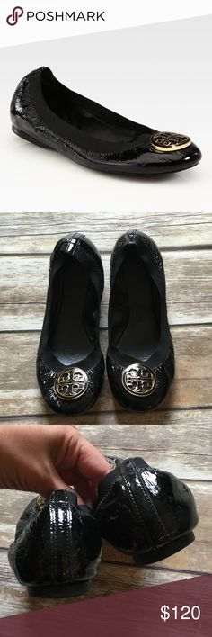 Tory Burch Patent Leather Ballerina Shoes A broad elastic topline ensures a secure and comfortable fit for this classic leather ballerina flat. A bold, enamel-inlaid logo medallion tops the rounded toe. Leather and textile or leather upper/leather lining and sole. Reasonable offers through offer button only. LOW BALL OFFERS WILL BE IGNORED. NO TRADES Tory Burch Shoes Flats & Loafers