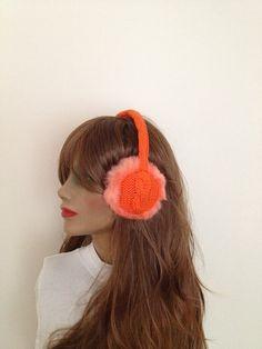 ON SALE Orange EarmuffPlush with knitting Winter fur by NesrinArt, $45.00