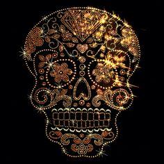 9x12 - ALTIN HALF MOON STUD DİŞ (STUDS) - Çapraz Rhinestuds, altın, yarım ay, kafatası, Materyal Transfer, Kafatasları