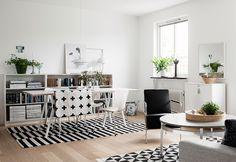 Splashes of greenery bring offset this Scandinavian style living room's bold black and white patterns with a casual, homey warmth.