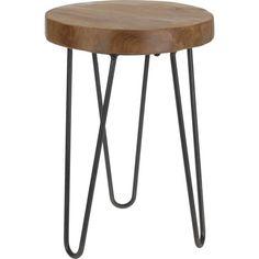 furniture - poufs, stools, benches-Stołek tekowy z metalowymi nogami