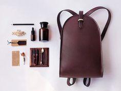 Unique vintage style leather back pack