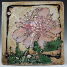 Peony Tile - Carol Long Pottery