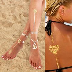 Temporary metallic tattoos- be creative! Use bracelet and necklace tattoos on other parts of your body.   https://www.amazon.com/dp/B01LKA4Q3A