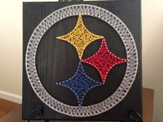 String art Pittsburgh Steelers board by my2heARTstrings on Etsy https://www.etsy.com/listing/227194029/string-art-pittsburgh-steelers-board