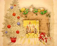 40's Christmas Card. Vintage Christmas Card. Retro Christmas Card. Christmas Tree. Yule Fireplace.