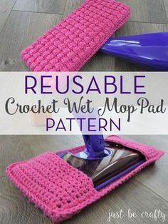 Crochet Diy Reusable Crochet Wet Mop Pad Pattern by Just Be Crafty! - Learn how to make your own reusable crochet wet mop pad! This wet mop pad is designed to fit the standard Swiffer Wetjet. Diy Crochet Patterns, Crochet Diy, Crochet Home, Bobble Crochet, Crochet Style, Knitting Patterns, Swiffer Pads, Yarn Projects, Knitting Projects