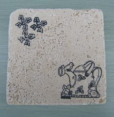 Watering Can & Other Garden Inspired Travertine Marble Style Coasters by CircleOakTreasures on Etsy