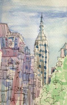 New York watercolor sketching - Sarai Quiroz