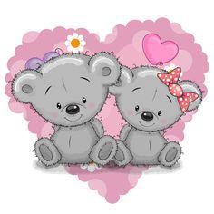 Illustration about Two Cute Cartoon Bears on a background of heart. Illustration of heart, cheerful, birthday - 61112689 Tatty Teddy, Cute Cartoon Girl, Bear Cartoon, Cartoon Heart, Valentines Illustration, Cute Illustration, Cute Images, Cute Pictures, Clip Art