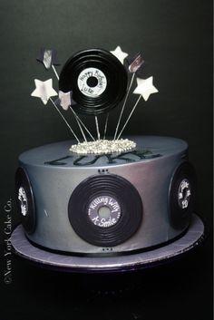 Vinyl record 80's themed birthday cake.