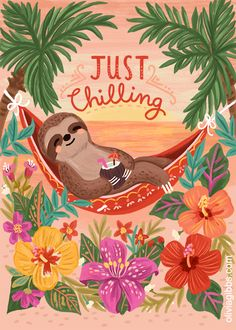 Be like this sloth! Cute Baby Sloths, Cute Sloth, Illustrations, Illustration Art, Easy Drawing Tutorial, My Spirit Animal, Cute Wallpapers, Cute Art, Cute Pictures