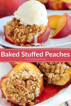 Baked Peaches - Fresh peaches filled with a brown sugar streusel and baked until juicy and bubbly. Serve warm topped with vanilla ice cream! Baked Peaches - Fresh peaches filled with a brown sugar streusel and baked until juicy and bu Healthy Dessert Recipes, Sweets Recipes, Fruit Recipes, Cooking Recipes, Healthy Baking, Cake Recipes, Summer Desserts, Fun Desserts, Delicious Desserts
