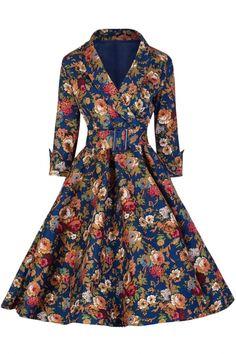 Vintage Floral Printing Belted Dress OASAP.com