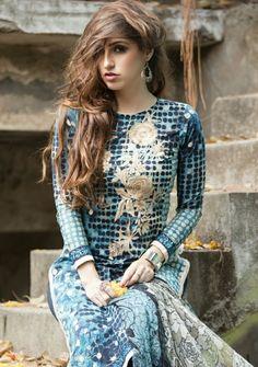 Blue cotton salwar kameez suit