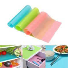 4pcs/lot Multifunction Refrigerator Pad Fruit Vegetable Waterproof Pad Anti-fouling Mildew Moisture Absorption Kitchen Table Mat #Affiliate