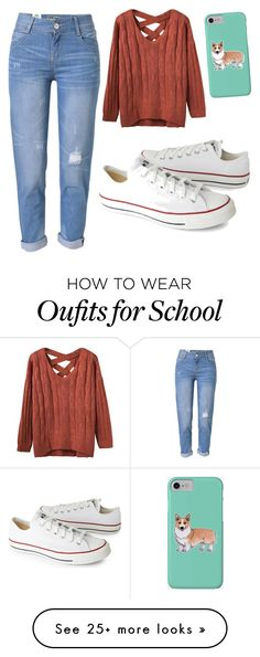 """School outfit"" by amcc13 on Polyvore featuring Converse, WithChic and Corgi"