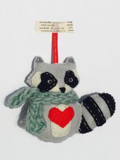 e8b751ffc95f Raccoon Love - Felt raccoon ornament with heart by BrambleberryFox on Etsy  https