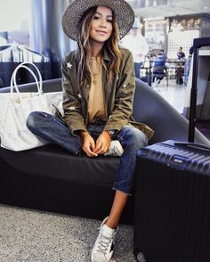 """JULIE SARIÑANA on Instagram: """"Airport look with my favorite @shop_sincerelyjules star jacket and new mustard Cara sweatshirt!  www.shopsincerelyjules.com…"""""""