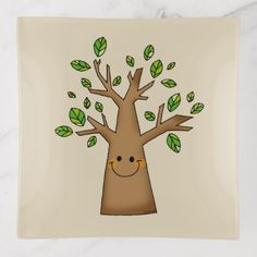 cute smiling tree cartoon trinket trays - home gifts ideas decor special unique custom individual customized individualized